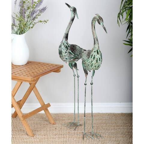 Coastal Green Iron Crane Sculptures (Set of 2) by Studio 350