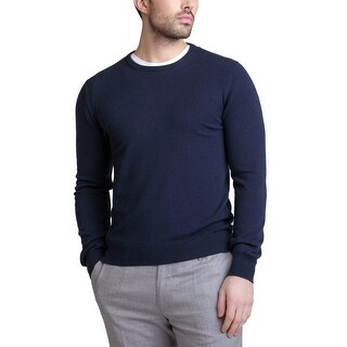 Bloomingdales Mens 2-Ply Cashmere Crewneck Sweater Large L True Navy Knitwear