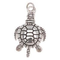 Antiqued Silver Plated Sea Turtle Honu Charm 23mm (1)