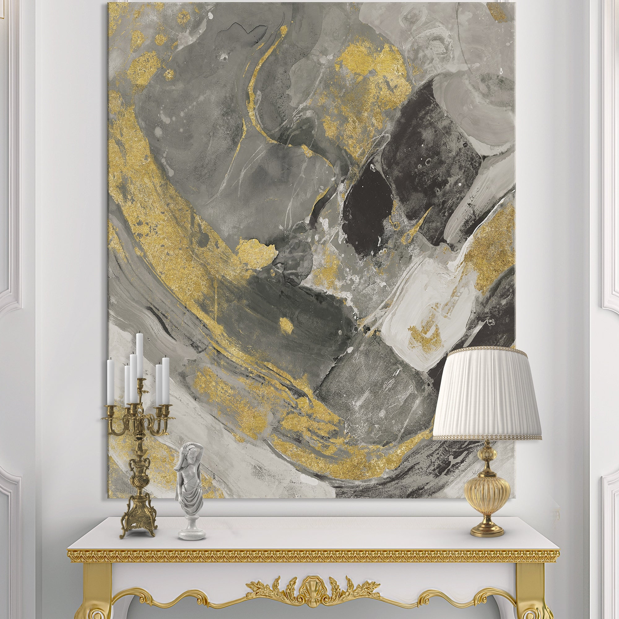 Designart Marble Gold And Black Ii Modern Contemporary Canvas Art Grey Overstock 25705706