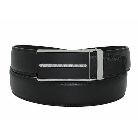 Men's Leather Black Dress Belt, Sliding Ratchet Automatic Buckle Holeless Large