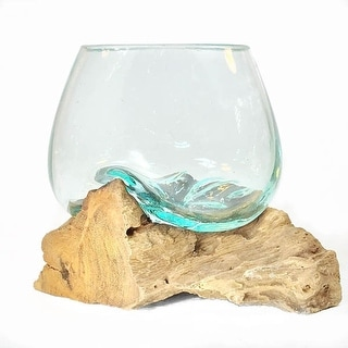 Link to Molten Glass on Rood Wood Sculpture Hand Blown Vase Medium Similar Items in Decorative Accessories