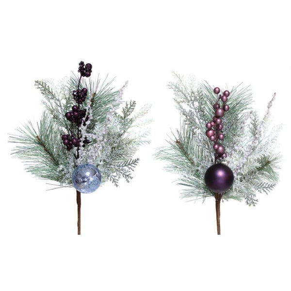 """Club Pack of 12 Burgundy Red and Green Pine and Berry Pick with Ornament 14"""""""