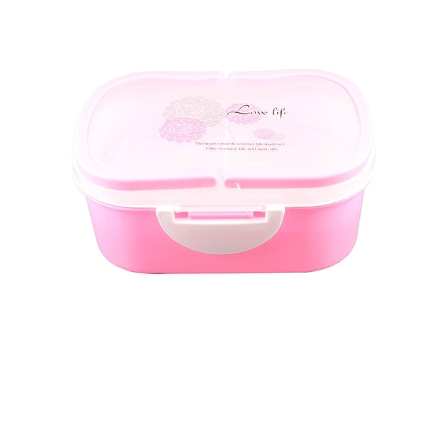 Detachable Lid Rectangular Pink Plastic Dual Tiers Lunch Box Food Container
