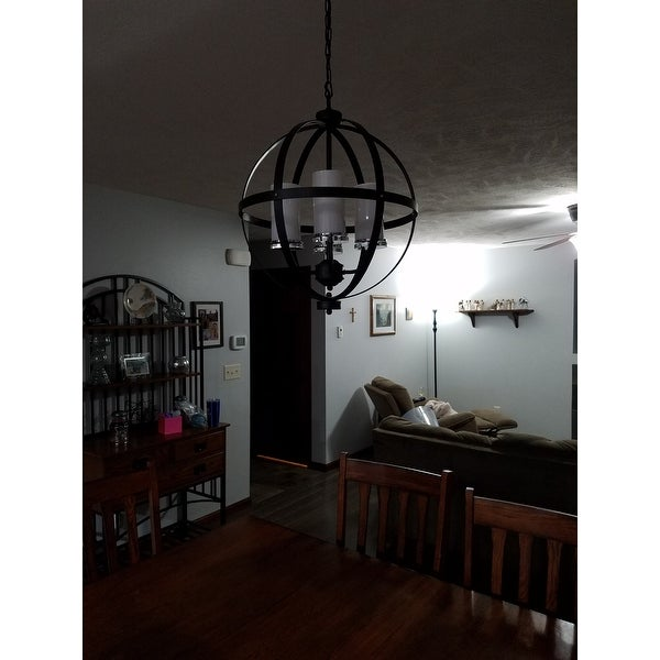 Benita Antique Black Iron Orb Chandelier With Glass Globe   Free Shipping  Today   Overstock.com   19000075