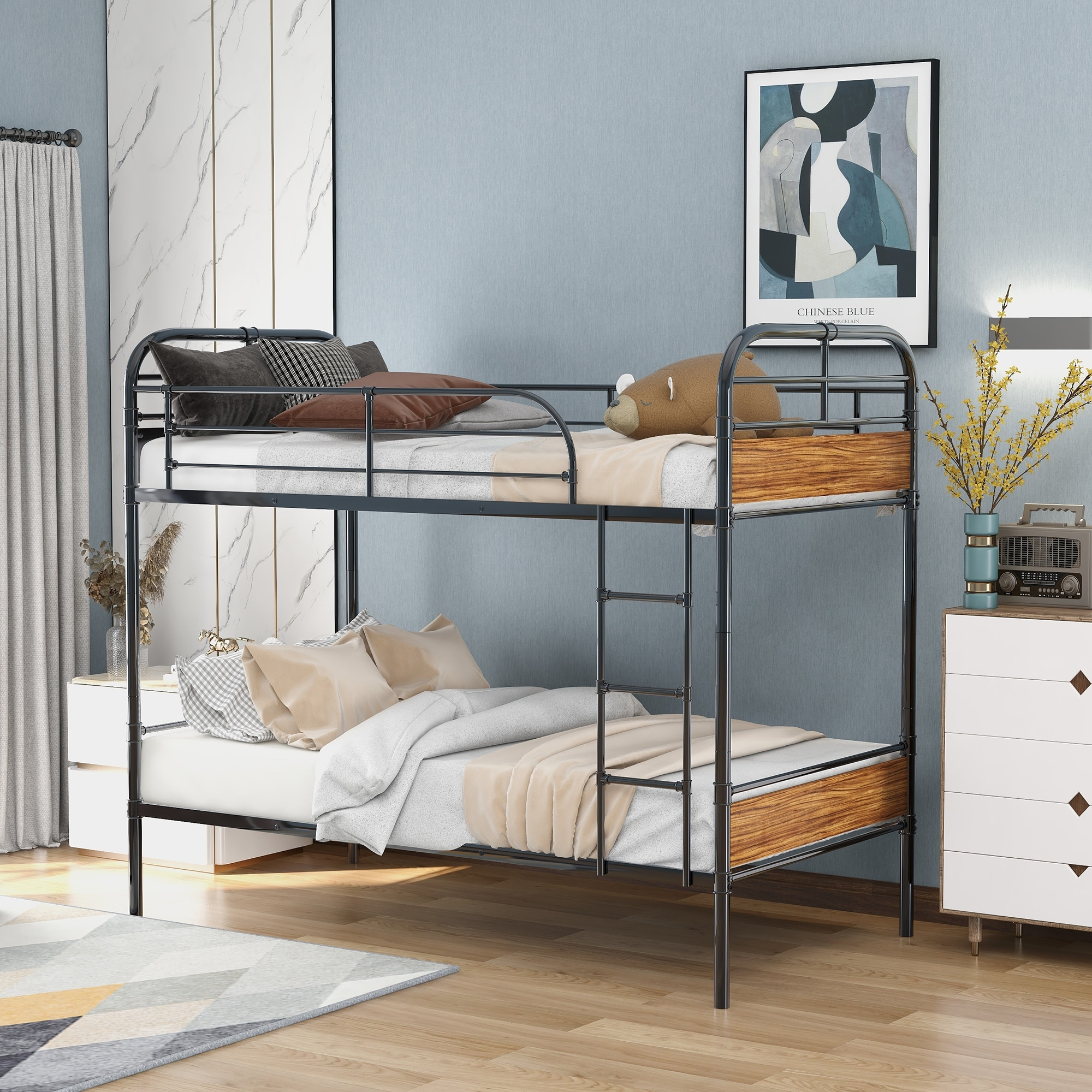 Image of: Shop Black Friday Deals On Twin Over Twin Bunk Bed With Sturdy Steel Frame And Headboards On Sale Overstock 32221788
