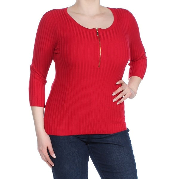 Shop Inc Womens Red Zip Front Long Sleeve Scoop Neck