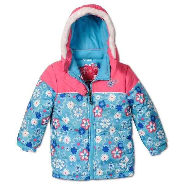 Rugged Bear Little S Fl Printed Puffer Coat