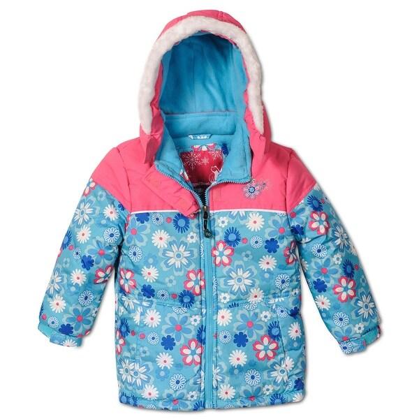 shop rugged bear little girls 39 floral printed puffer coat. Black Bedroom Furniture Sets. Home Design Ideas