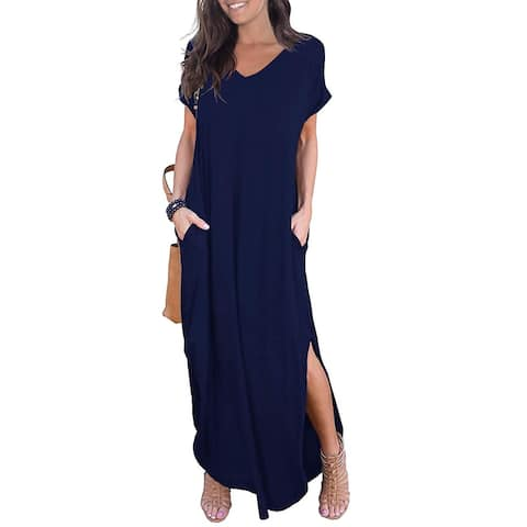 GRECERELLE Women's Casual Loose Pocket Long Dress Short, Blue, Size X-Large