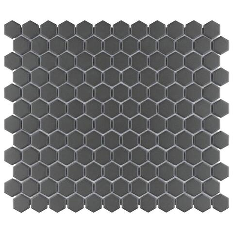 SomerTile 10.25x11.75-inch Manhattan Hex Black Unglazed Porcelain Mosaic Floor and Wall Tile