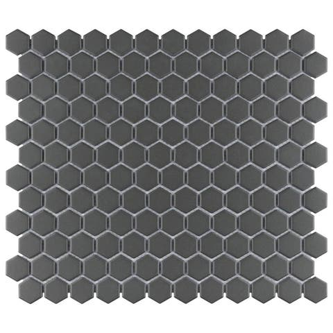 "SomerTile Gotham 1"" Hex Black 10-1/4"" x 11-3/4"" x 5 mm Porcelain Unglazed Mosaic Tile"
