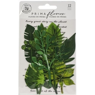 Evergreen - Prima Marketing Printed Fabric Leaf Embellishments 12/Pkg