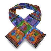 Laurel Burch Dog Tails Patchwork Silk Scarf 54 X 11.5 In.