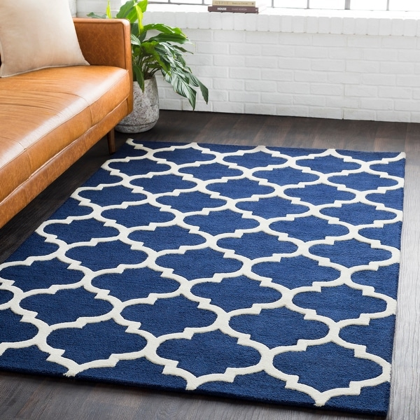 Hand-Tufted Intect Moroccan Trellis Wool Area Rug