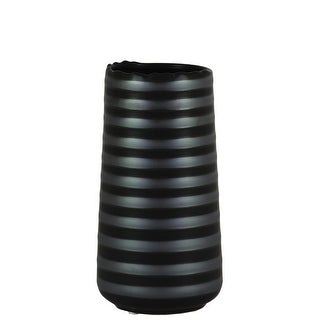 Cylindrical Stoneware Vase With Ribbed Pattern, Small, Black And Gray