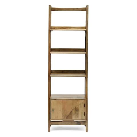 Boughton Rustic Handcrafted Mango Wood 4 Shelf Ladder Bookcase with Storage by Christopher Knight Home
