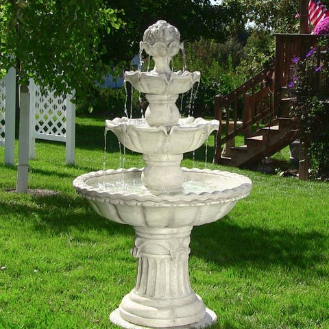 Sunnydaze 4-Tier White Electric Outdoor Water Fountain with Fruit Top - 52-Inch