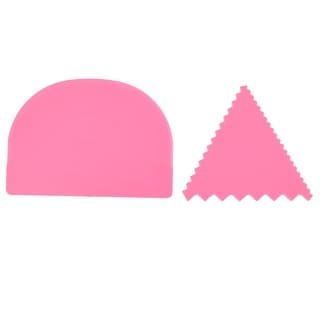Home Kitchen Tool Plastic Butter Cake Edge Side Decorating Scraper Pink 2 in 1