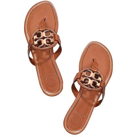Tory Burch Womens Tan Rose Gold Metal Miller Logo Sandals Thong Flip Flops Flats
