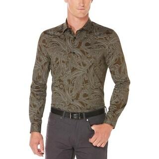 Perry Ellis Mens Button-Down Shirt Paisley Long Sleeves