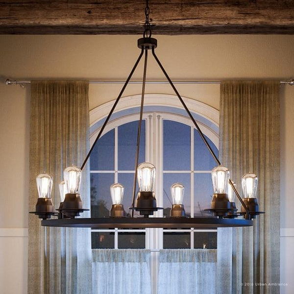 """Luxury Industrial Chic Chandelier, 34.5""""H x 36""""W, with Vintage Style, Charcoal Finish by Urban Ambiance"""