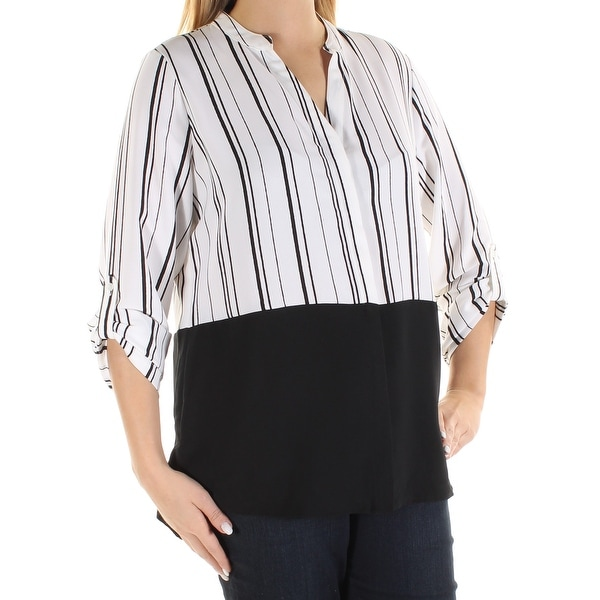 1c2c76d9ca05e Shop Womens White Black Striped Cuffed V Neck Button Up Top Size 12 - On  Sale - Free Shipping On Orders Over  45 - Overstock.com - 21367626