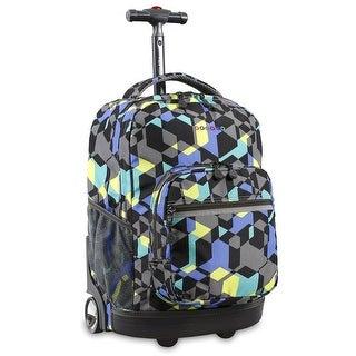 J World New York Sunrise 18 Inch Rolling Backpack, Cubes