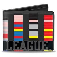 Justice League 1 Bit Superheroes Gray Black Multi Color Bi Fold Wallet - One Size Fits most