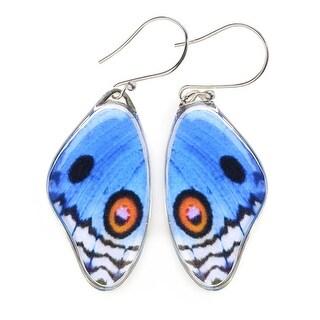 Women's Handcrafted Blue Pansy Butterfly Wing Dangle Earrings