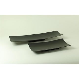 Modern Day Accents 8314 Alum Long Black Rect Trays - Set of 2