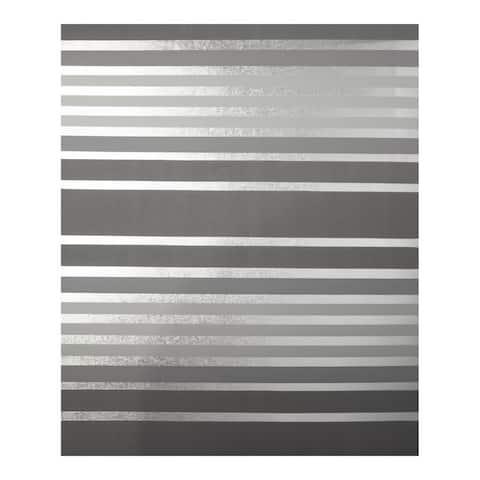 Mayfair Charcoal Metallic Stripe Wallpaper - 20.5 x 396 x 0.025