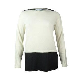 Calvin Klein Women's Faux Leather Slit Hem Sweater - l