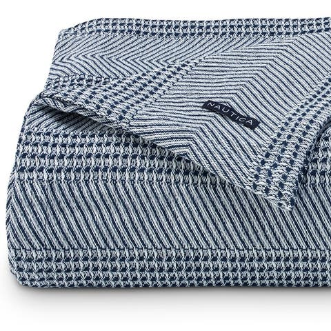 Nautica Chevron Stripe Navy Cotton Blanket