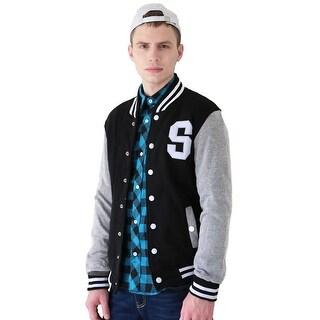 Unique Bargains Men Letter Pattern Button Front Long Sleeve Baseball Jacket