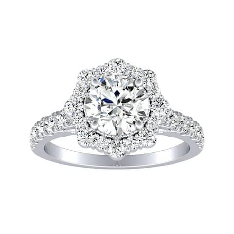 Auriya 14k Gold Vintage 1 1/4ctw Round Halo Diamond Engagement Ring