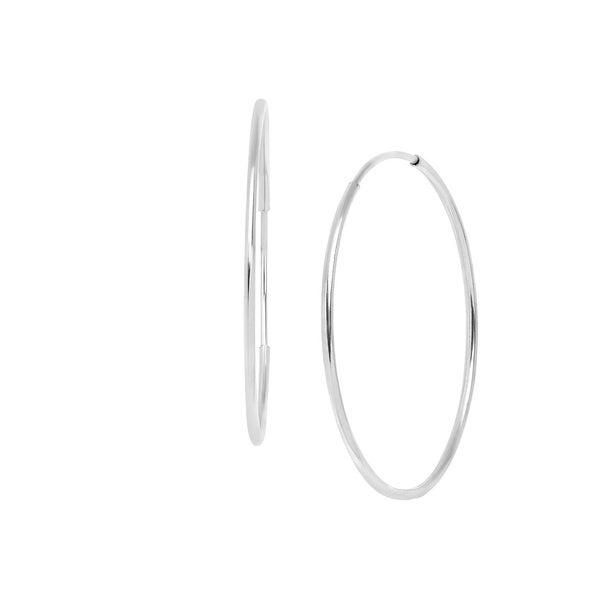 Eternity Gold Endless 14 mm Hoop Earrings in 10K White Gold