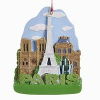 """Pack of 12 Decorative Glittered International City of Travel """"Paris"""" Christmas Ornament 4"""" - brown"""