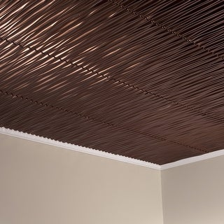 Fasade Dunes Vertical Decorative Vinyl 2ft X 2ft Glue Up Ceiling Tile In Oil Rubbed Bronze 5 Pack Overstock 32192233