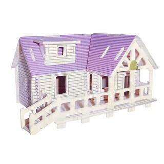 Children DIY Assembly 3D Purple Villa Woodcraft Construction Puzzle Toy Set