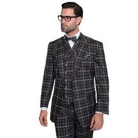BLACK SORENTO Men's 3pc Suit, Regular Fit, 1 Button, 2 Side Vent, wide leg Pants