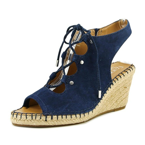 Franco Sarto Nataly Women Open Toe Leather Blue Wedge Sandal