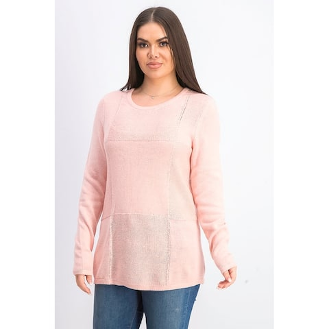 Karen Scott Women's Patchwork-Stitch Pullover Sweater Pink Size Large