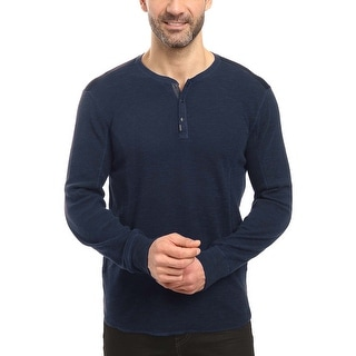 Calvin Klein Jeans Slub Waffle Knit Long Sleeve Henley Shirt River Blue