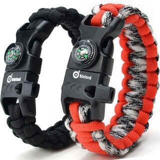 ODOLAND Paracord Bracelet Emergency Survival Cord 2-Peak Series Gear Kit w/ Compass Fire Starter Knife Whistle
