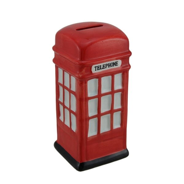 Retro Red Ceramic British Phone Booth Coin Bank - 6.5 X 2.75 X 2.75 inches. Opens flyout.
