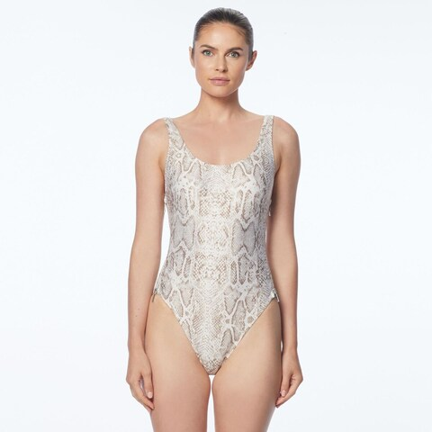 Carmen Marc Valvo Classic Weave Ivory Zipper One Piece Swimsuit - White