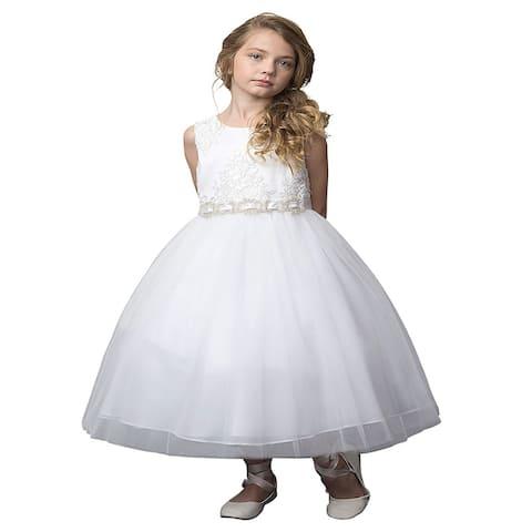 Petite Adele White Silk Beaded Rhinestone Belt Flower Girl Dress Little Girls