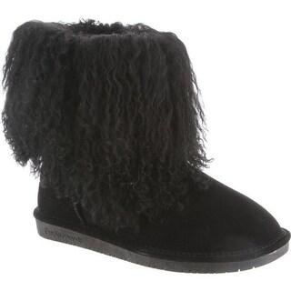 Bearpaw Women's Boo Solids Furry Boot Black II Curly Lamb Hair/Cow Suede