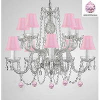 Swag Plug In Empress Crystal (TM) Chandelier Lighting With Pink Crystal Balls And Pink Shades